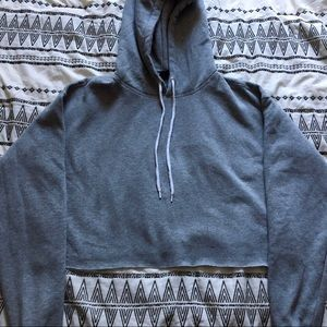 Grey cropped hoodie medium